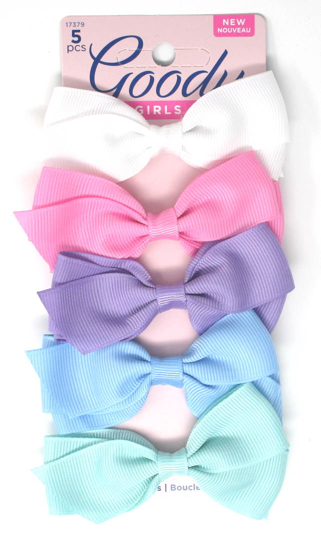 "Goody Girls Cute Pastel Bow Barrettes 3"" - 5 Piece"