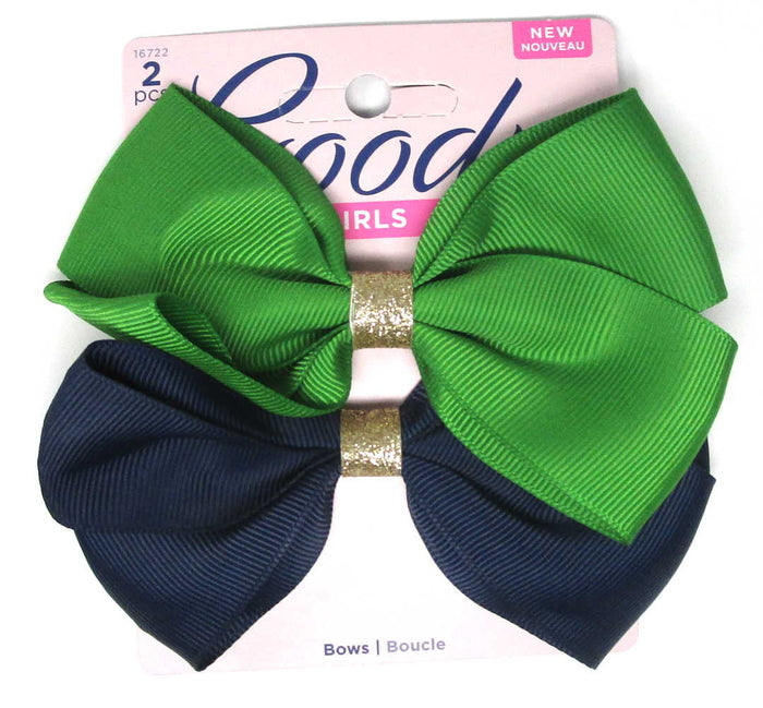"Goody Girls Navy Hair Bow Barrettes 4.5"" - 2 Count"