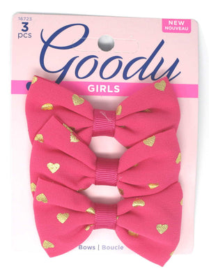 "Goody Girls Pink Hair Bow Heart Barrettes 2.75"" - 3 Pieces"