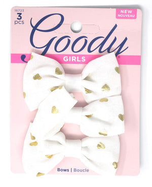 "Goody Girls White Hair Bow Heart Barrettes 2.75"" - 3 Pieces"