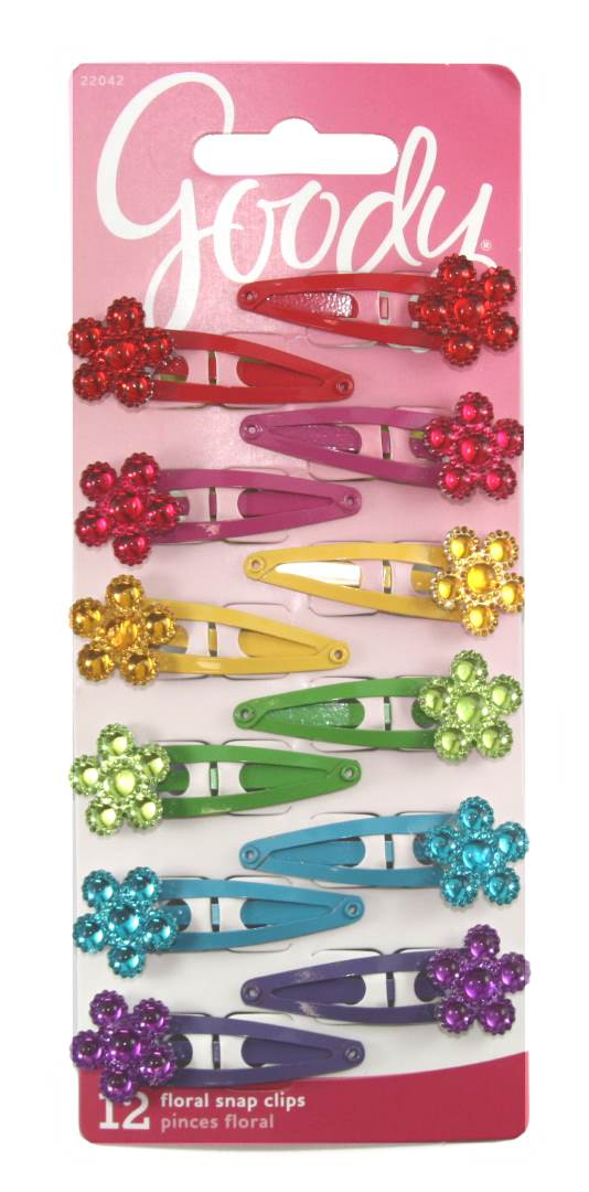 Goody Jeweled Flower Contour Clip - 12 Count