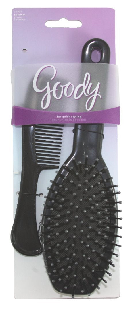Goody Metallic Plastic Cushion Purple Brush & Comb - 2 Pieces