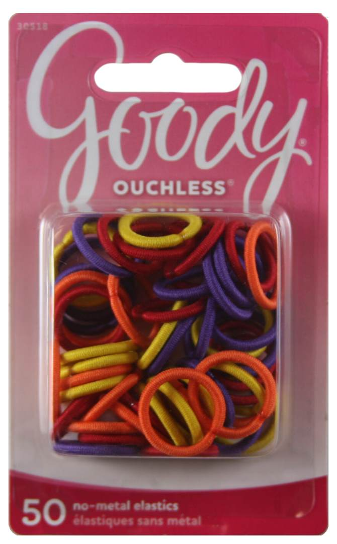 Goody Ouchless Braided Mini Elastics Bright Orange - 50 Count