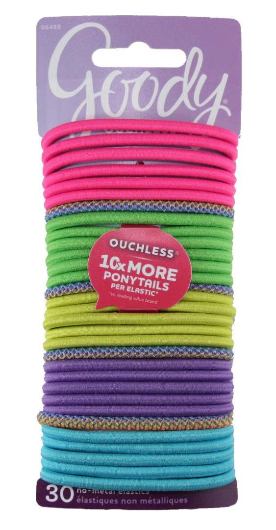 Goody Ouchless Elastics Neon Zig Zag Swag - 30 Pack
