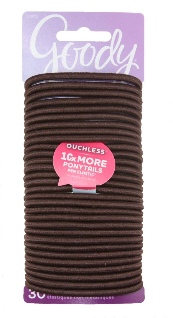 Goody Ouchless No Metal Elastics Chocolate Cake - 30 Count