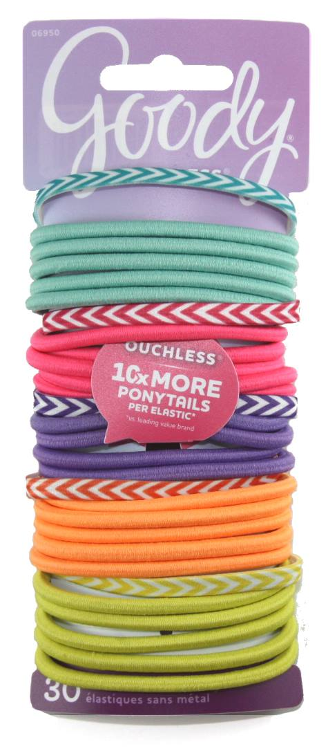 Goody Ouchless No Metal Elastics Colorful Solids & Chevrons - 30 Count