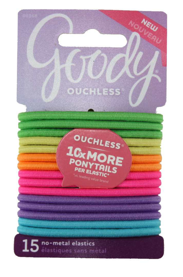 Goody Ouchless No-Metal Elastics Neon - 15 Pack