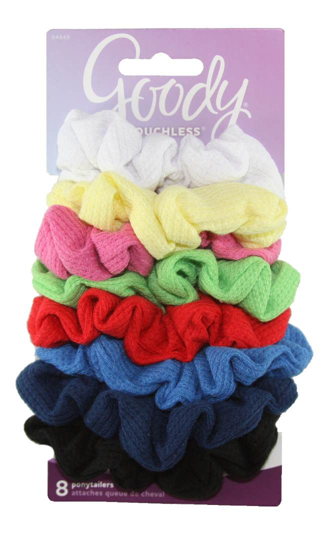 Goody Ouchless Ribbed Hair Scrunchies/Wraps - 8 Count