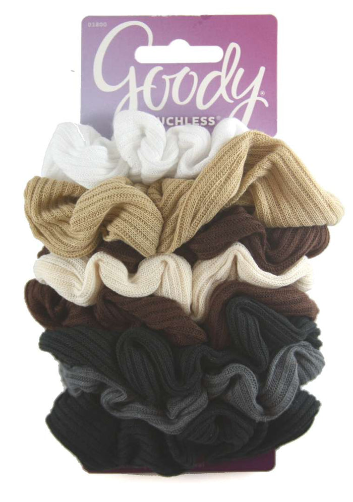 Goody Ouchless Ribbed Scrunchies Neutral - 8 Count