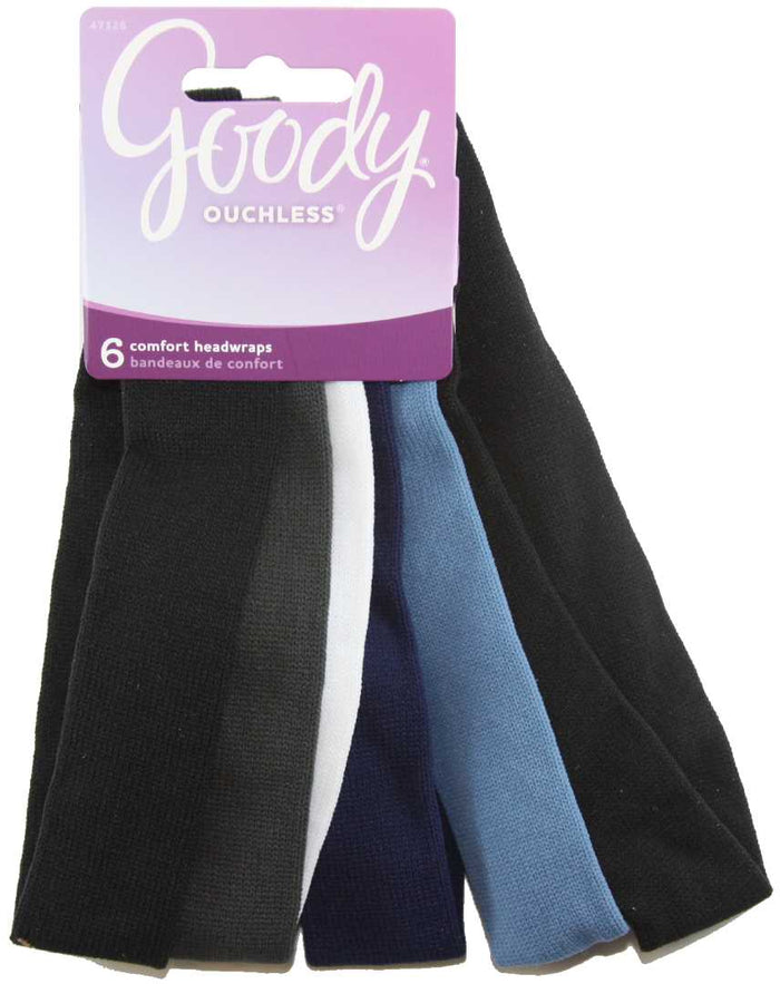 Goody Ouchless Thin Nylon Blues Headwraps - 6 Count