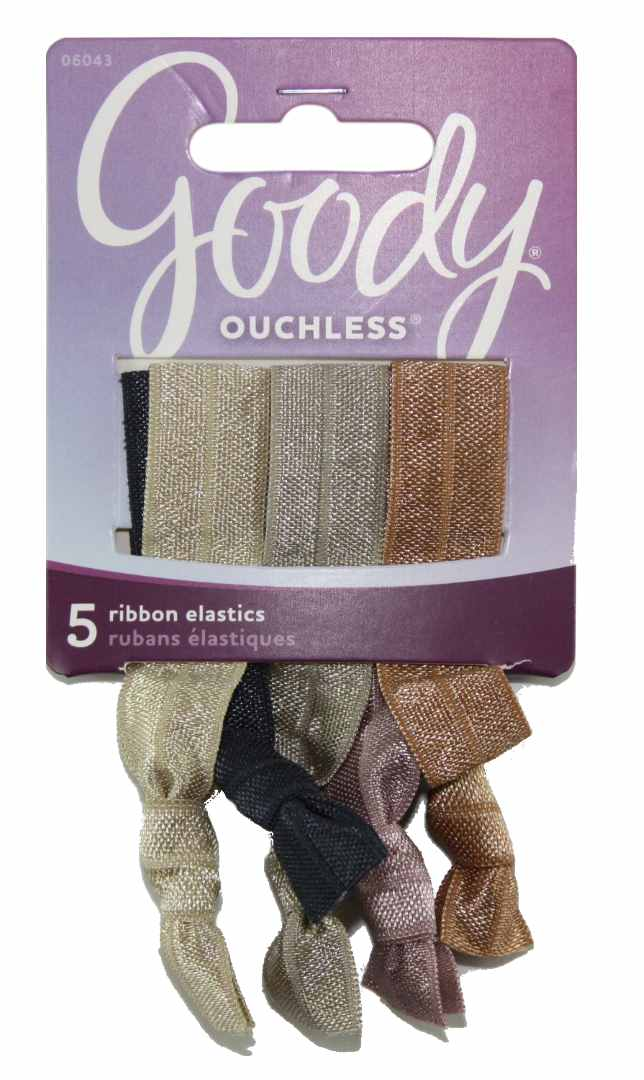 Goody Ouchless Tieback Neutral Ribbon Elastics - 5 Count