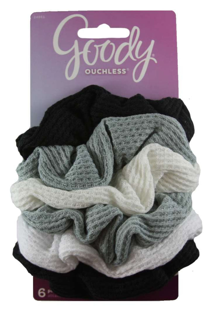 Goody Ouchless Waffle Scrunchies Gray/Black/White - 6 Count