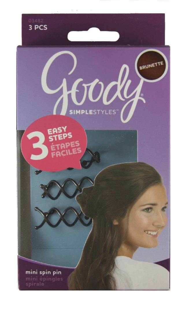 Goody Simple Styles Mini Spin Pins for Brunettes - 3 Count