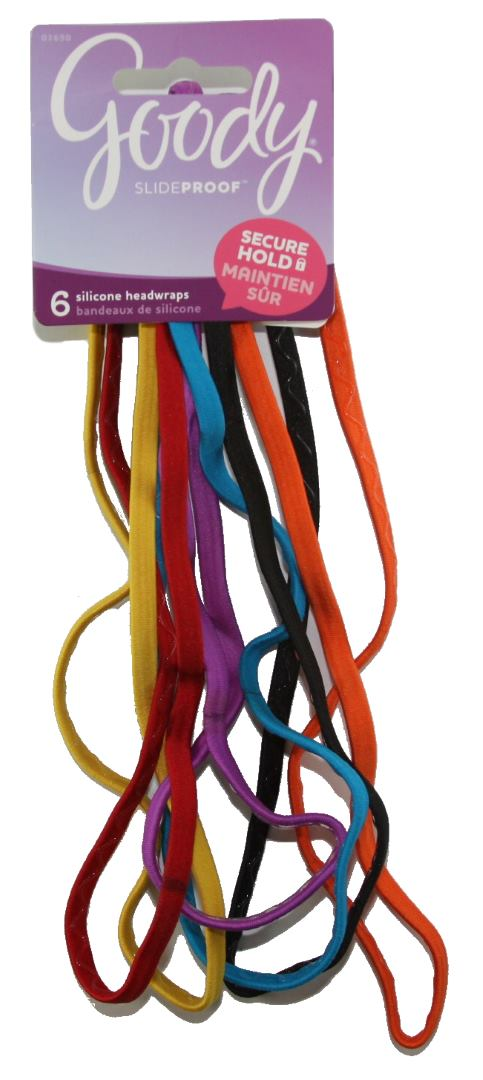 Goody SlideProof Headwraps with Silicon 6 mm Bright Colors - 6 Count