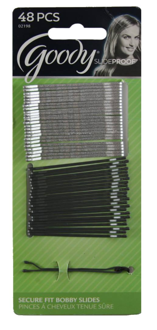 Goody SlideProof High Gloss Silver Bobby Pins - 48 Count