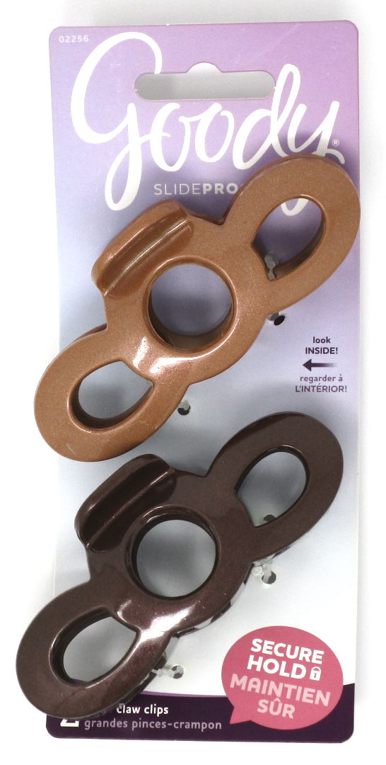 Goody SlideProof Claw Clips Light and Dark Brown - 2 Count