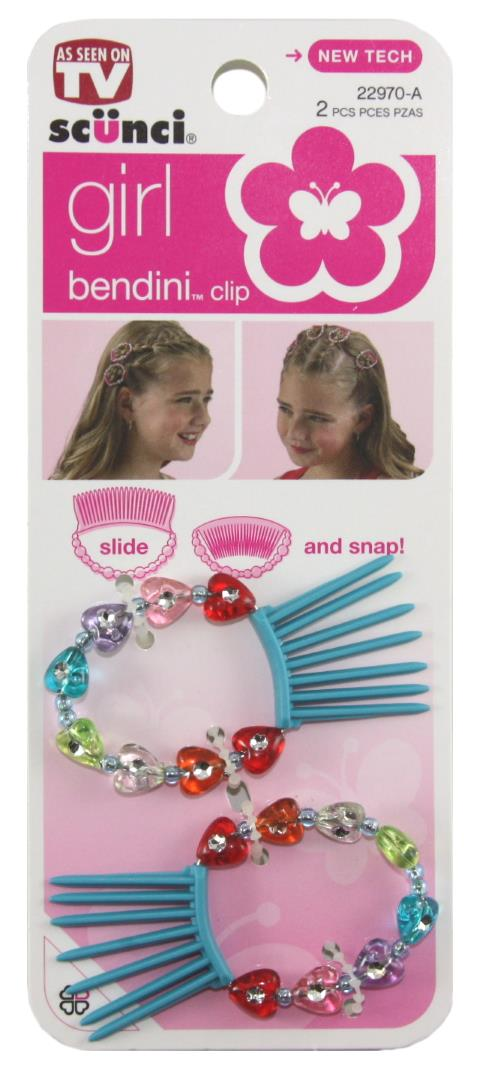 Scunci Bendini Beaded Snap Combs Pink - 2 Pack