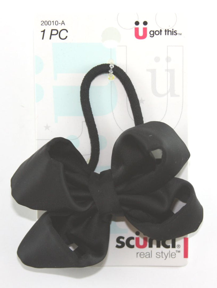 Scunci Black Braided Elastic Bow - 1 Pack