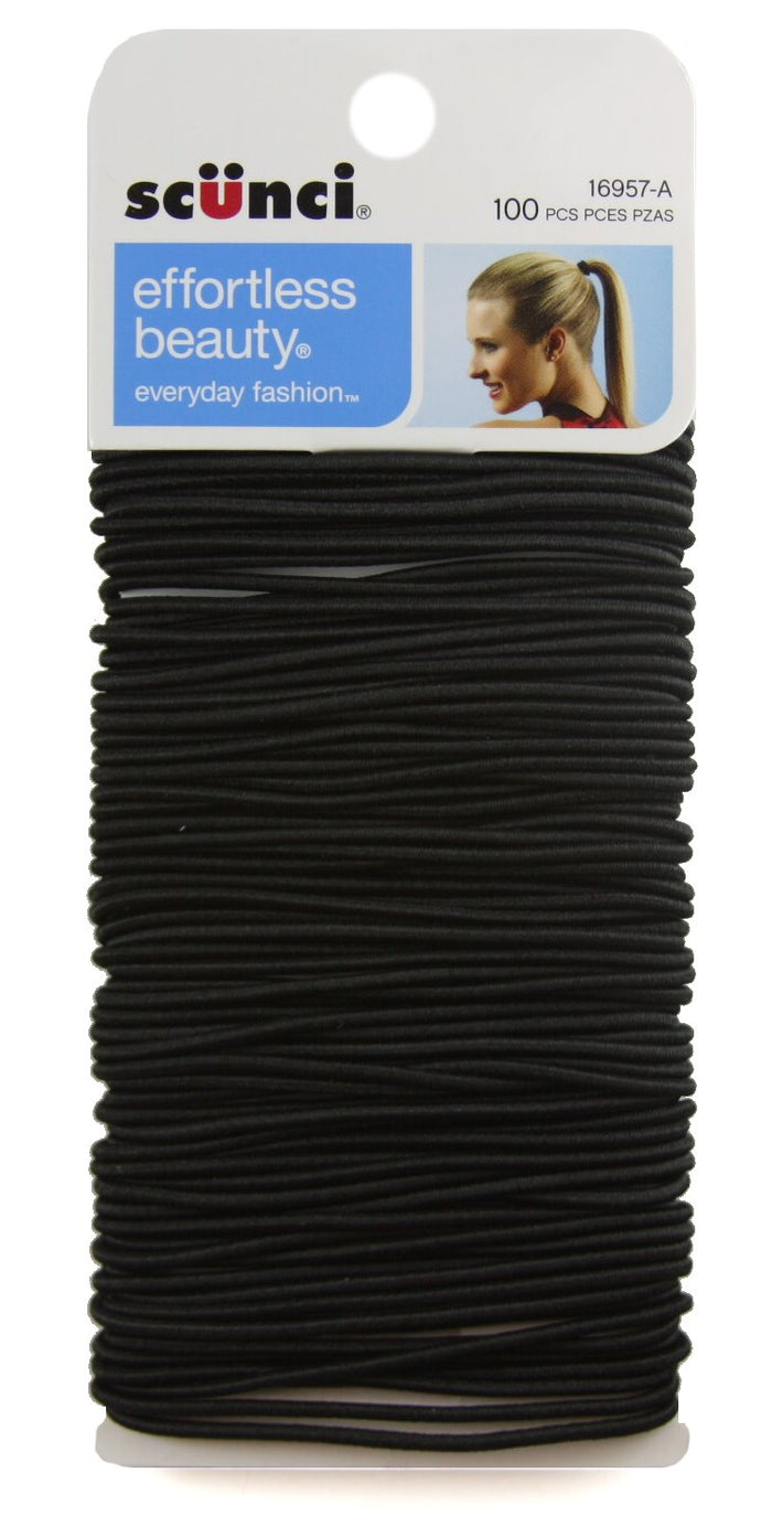 Scunci Black Metal Ponytail Hair Elastics - 100 Pack