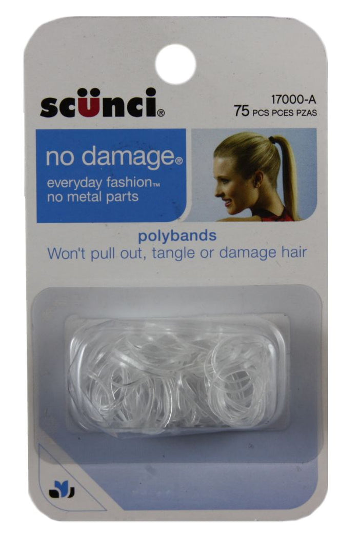 Scunci Clear No Damage Mini Poly Bands - 75 Pack