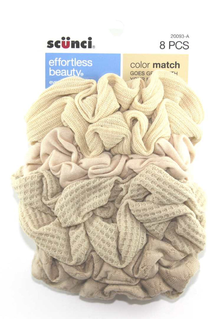 Scunci Color Match Mixed Knit Twister Blonde Hair Scrunchies - 8 Pack