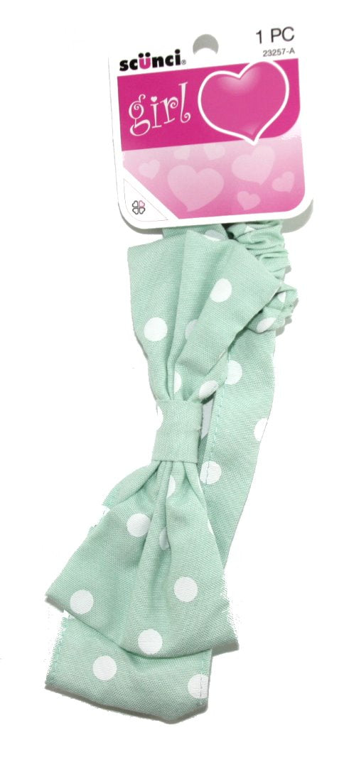 Scunci Dotted Gathered Headwrap with Bow Green - 1 Pack