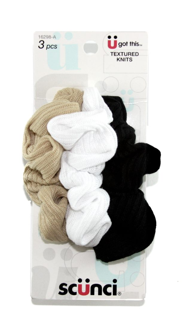 Scunci Effortless Beauty Basic Navy Ribbed Scrunchies - 3 Pack