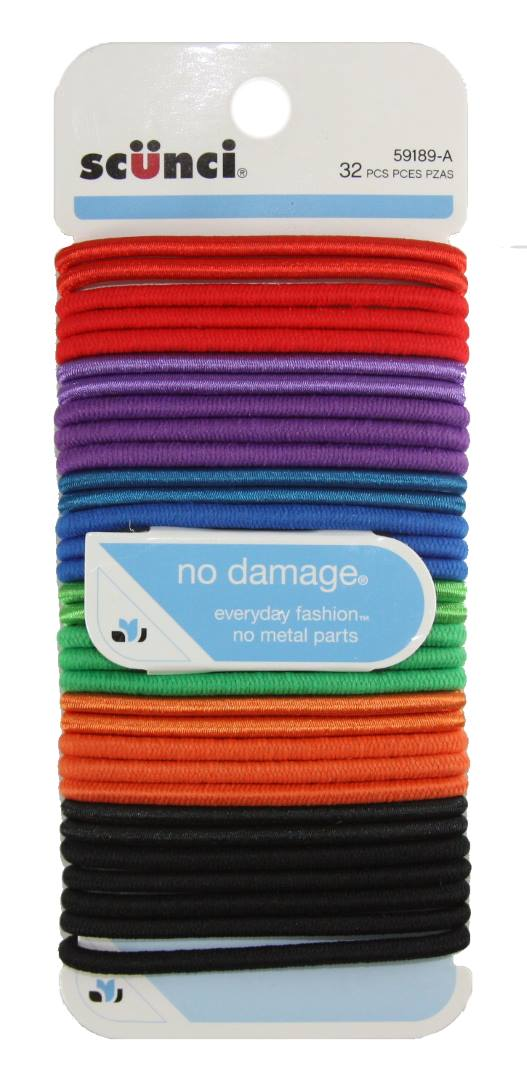 Scunci Effortless Beauty Large No-damage Carribean Elastics - 32 Pack