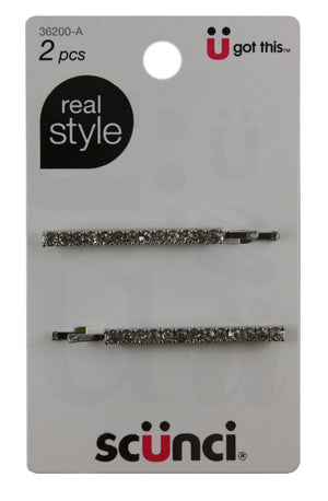 Scunci Effortless Beauty Metal Rhinestone Bobby Pins 5.5cm