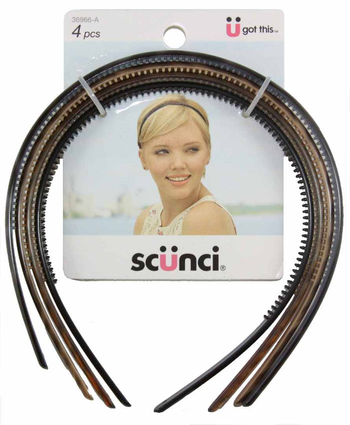 Scunci Effortless Beauty Skinny Plastic Headbands - 4 Pack