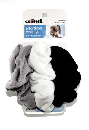Scunci Effortless Beauty Velour Comfy Scrunchies Blue Colors- 3 Pack