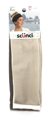 Scunci Effortless Beauty Wide Stretch Basic Neutral Headwraps