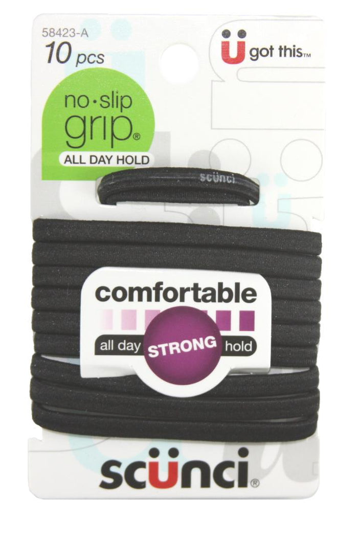 Scunci Elastic No Slip Ponytail Holders Black - 10 Pack
