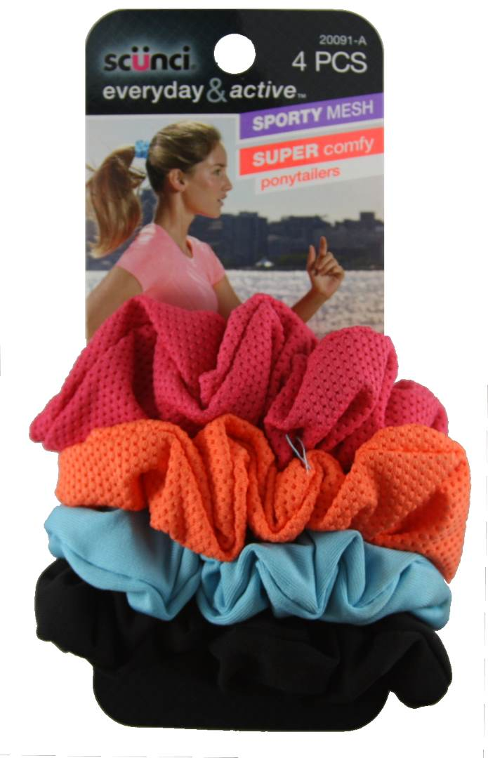 Scunci Everyday and Active Mesh and Solid Twisters - 4 Pack