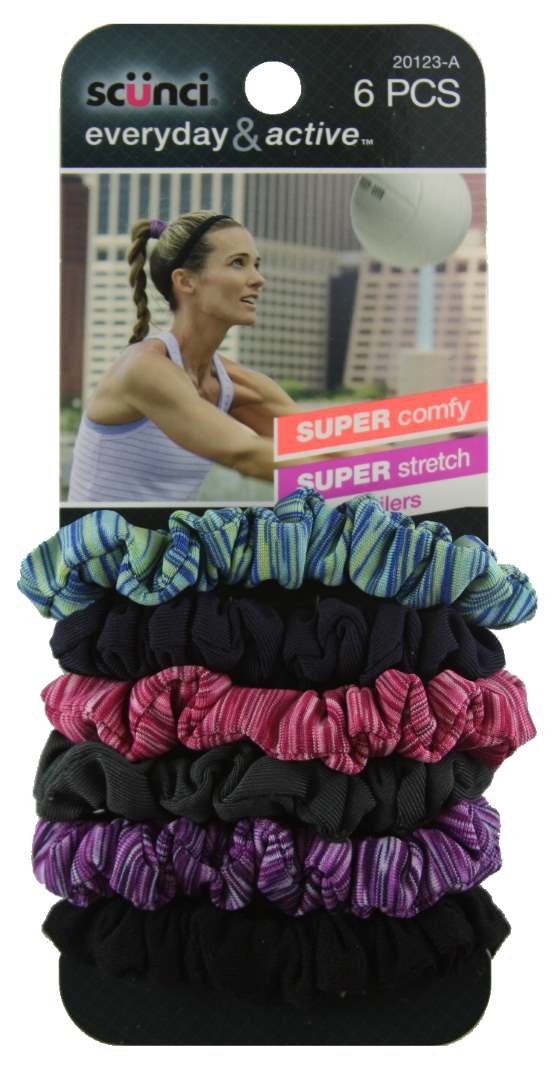 Scunci Everyday and Active Mixed Twister Ponytailers - 6 Pack