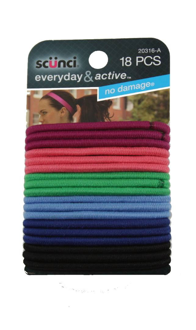 Scunci Everyday and Active No Damage Hair Elastics - 18 Pack
