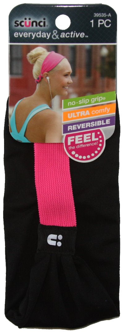 Scunci Everyday and Active No Slip Grip Reversible Headband Black - 1 Pack