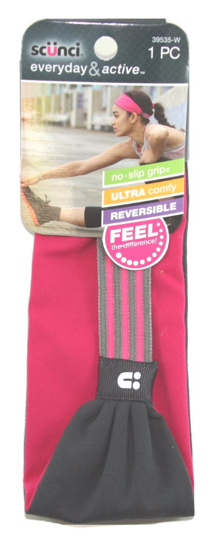 Scunci Everyday and Active No Slip Grip Reversible Headband - 1 Pack