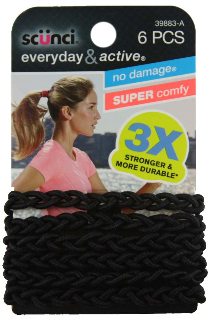 Scunci Everyday and Active Strand Elastics Black - 6 Pack