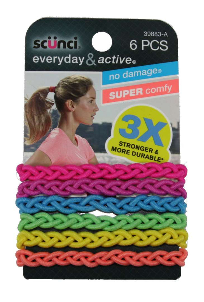 Scunci Everyday and Active Strand Elastics Rainbow - 6 Pack