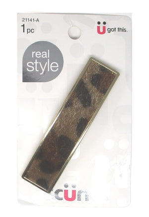 "Scunci Faux Animal Print Autoclasp Barrette 3.25"" - 1 Piece"