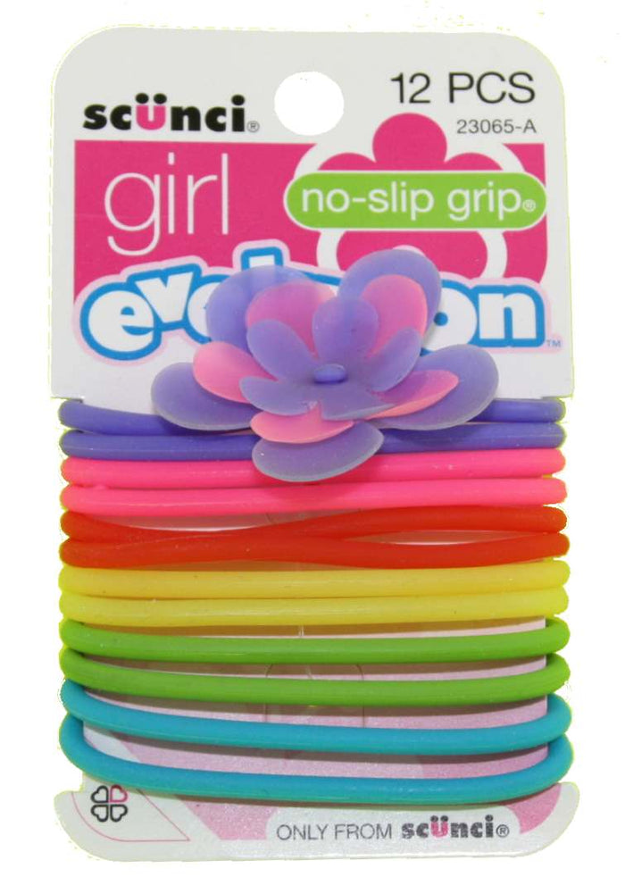 Scunci Girl Evolution No Slip Grip Jelly Ponytail Holders - 12 Pack