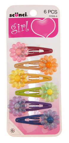 Scunci Girl Flower Snap Clips 5.5cm