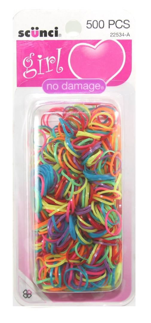Scunci Girl No Damage Polyband Elastics - 500 Pack