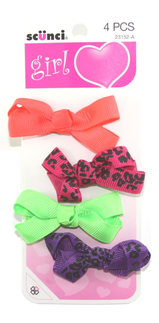 SCUNCI - Girl Salon Clips with Bow - 4 Clips