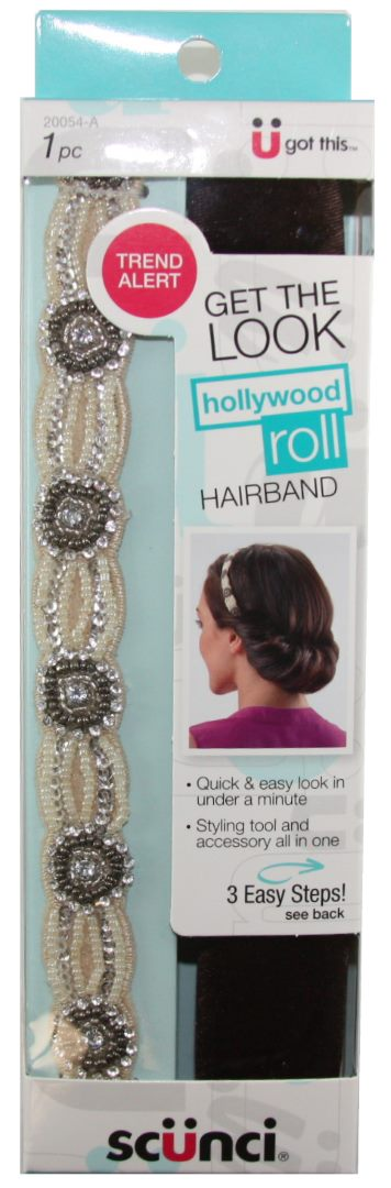Scunci Hollywood Roll Thick White Band - 1 Pack