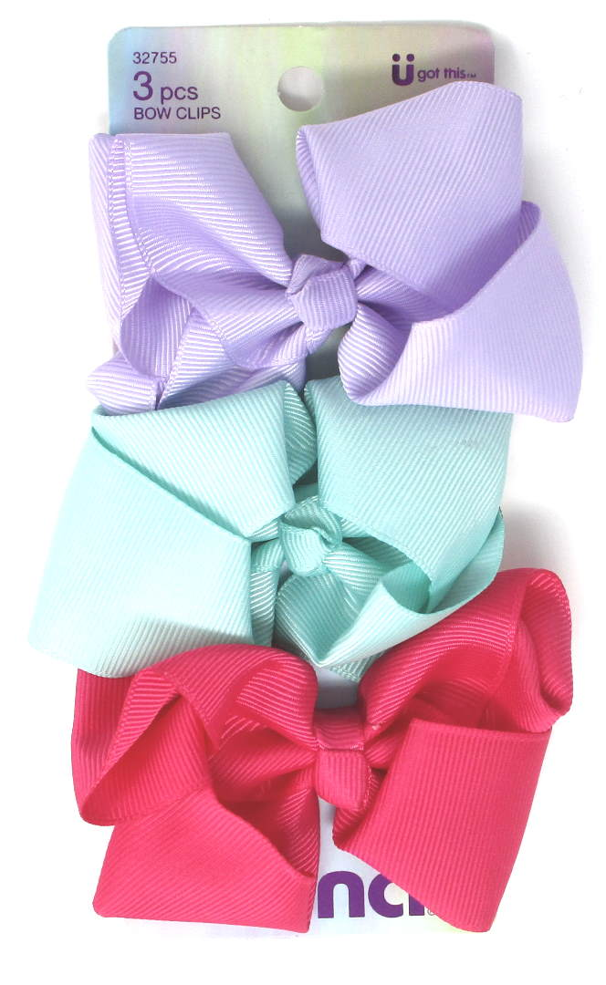 "Scunci Kids Assorted Hair Bow Barrettes 3.5"" - 3 Pieces"