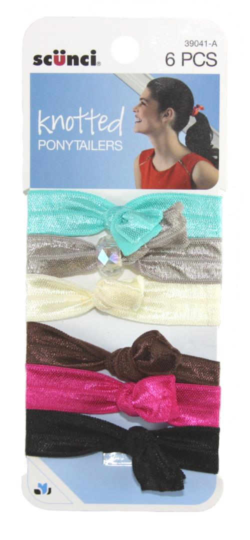Scunci Lady Knot Ponytailers Assorted Light Colors - 6 Pack