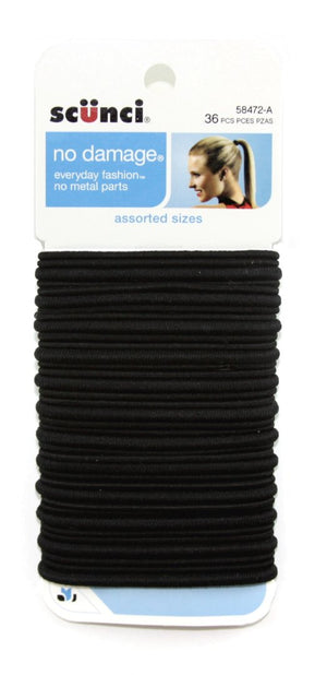Scunci Large No Damage Elastics Black