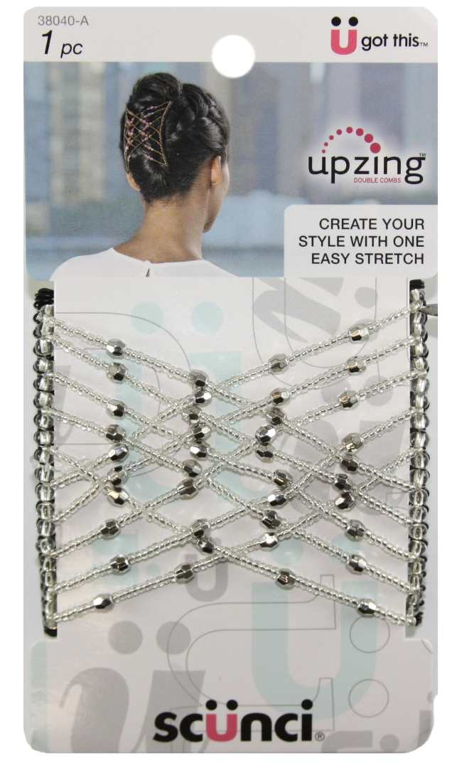 Scunci Medium Beaded Upzing Clear - 1 Pack